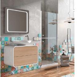 Mueble de baño Onix en blanco y roble