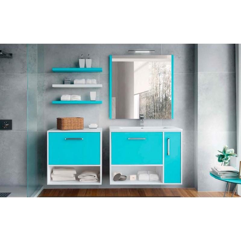 Mueble de ba o kira suspendido lacado en blanco y azul for Mueble wengue y blanco