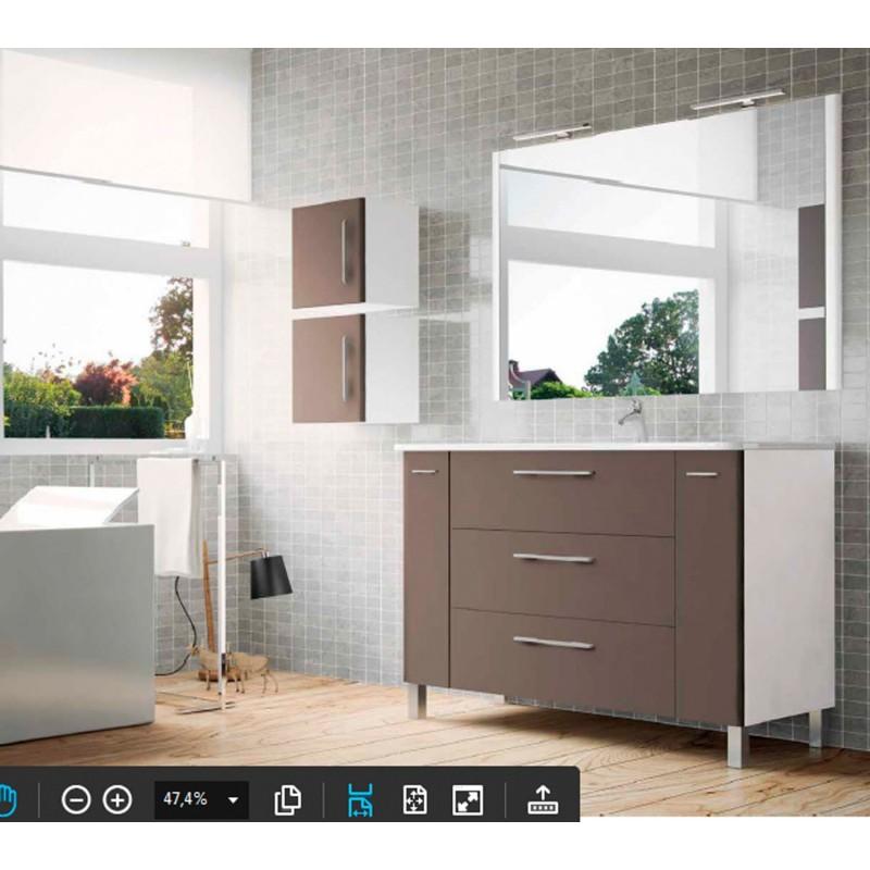 Mueble de lavabo de 120 cms modelo tecia en blanco y pardo for Mueble bano 120 barato
