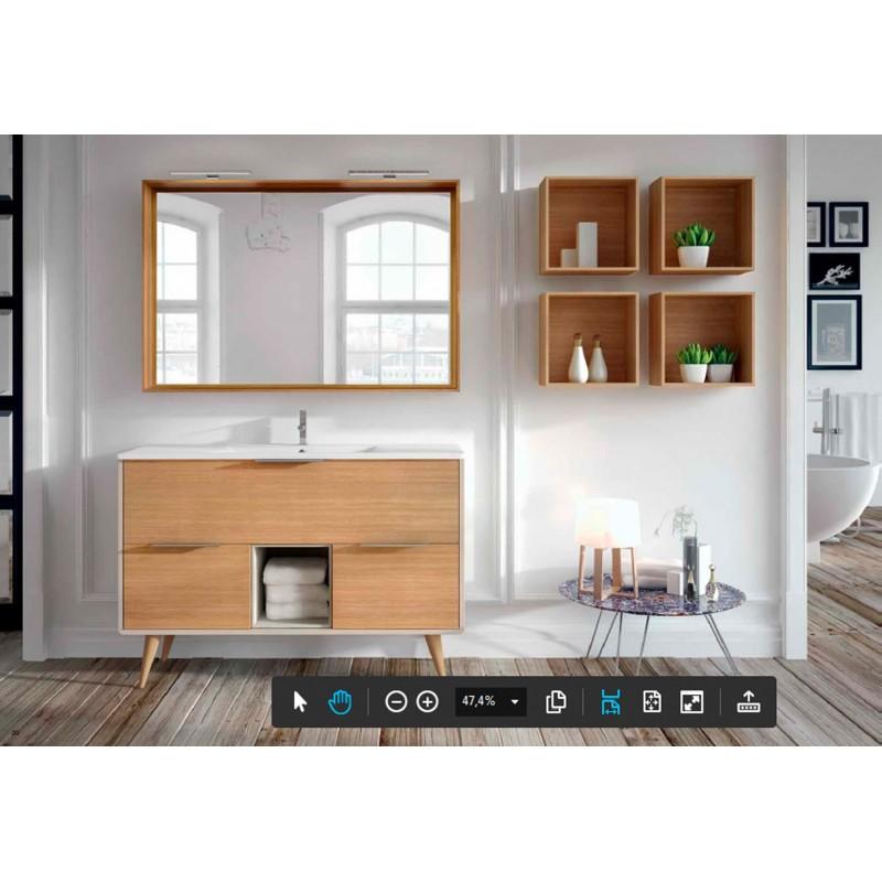Mueble de ba o vintass que combina lacado y chapa roble - Mueble bano online ...