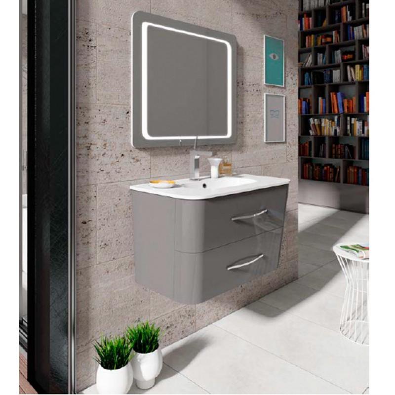 Mueble para lavabo modelo moon en gris brillo - Muebles de bano gris ...